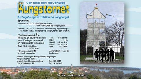Kungstornet liggande med vy torn folk och tavla